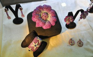 RCM gioielli Pink Sapphire & Diamonds Flower Brooch showcased at the Singapore International Jewelry Expo (SIJE) 2013