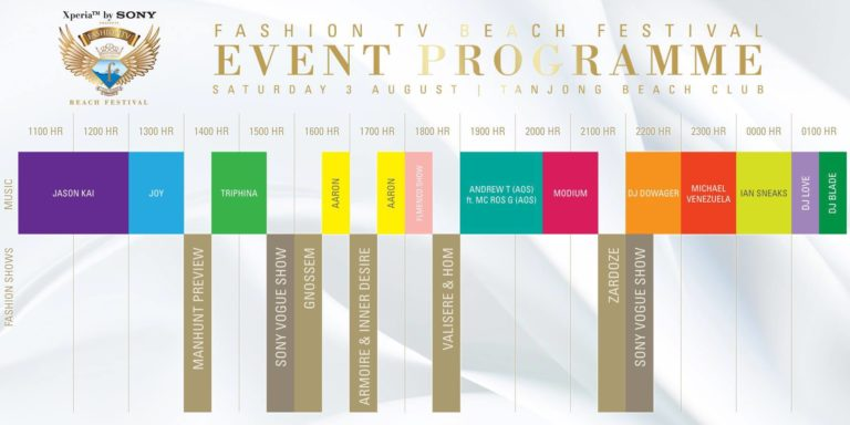 Fashion TV Beach Festival at Tanjong Beach Club on 3 August 2013 11am till late - Event Programme