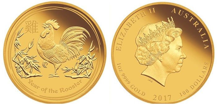 Gold Rooster Coin