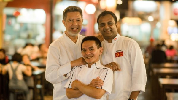 Chef Azman Kamis of Wedang, Chef Chan Hon Meng of Hong Kong Soya Sauce Chicken Rice and Noodle stall, Chef Manjunath Mural of Song of India