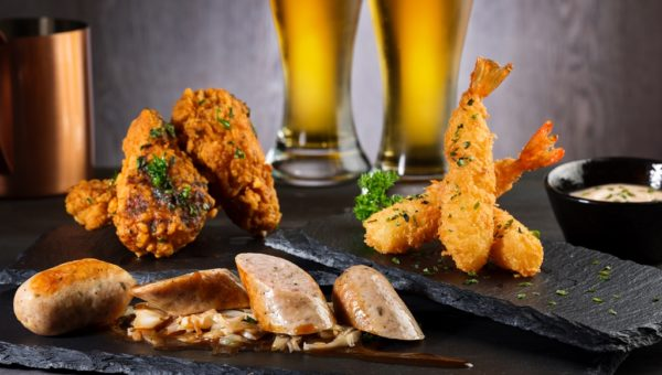 The Bar - Bar Bite Sharing Platter (Crispy Chicken Drumlets, Bratwurst with Sauerkraut & Sweet German Mustard, Tempura Prawns served with Sweet Chili Dips)