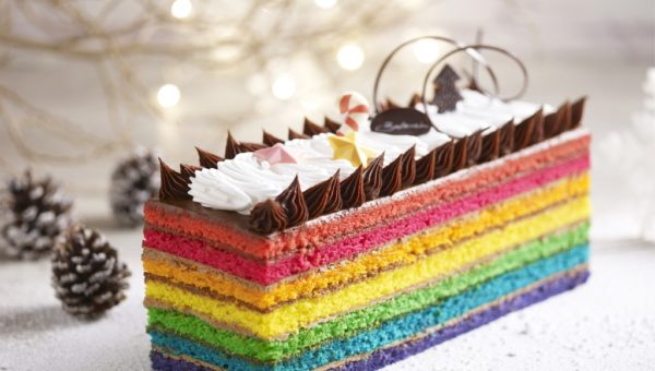 Rainbow Yule Log