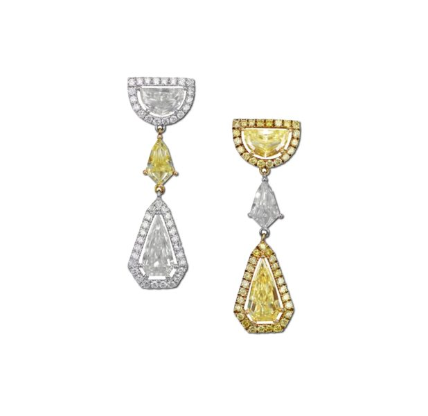 Yellow and White Diamond Earring