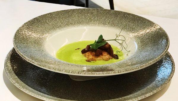 Pea Soup with Ceps Mushroom Ragu