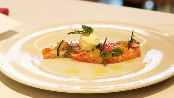 Salmon Gravlax with Vegetable shavings,