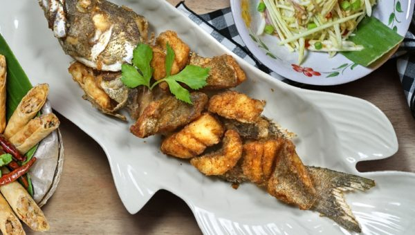 Deep-Fried Whole Sea Bass with Premium Fish Sauce and Mango Salad