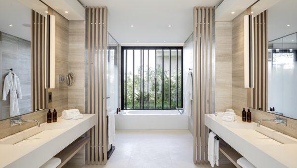 Beachfront Villa Main Master Bathroom with garden view