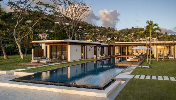 Beachfront Villa Pool and Lawn area