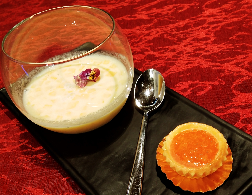 Chilled Pinapple Sago Cream with Warm Nian Gao Tart