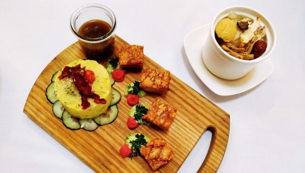 Crispy Pork Belly on Potato Cucumber Salad and Double-Boiled Truffle Soup