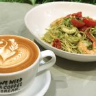 Latte and pesto pasta