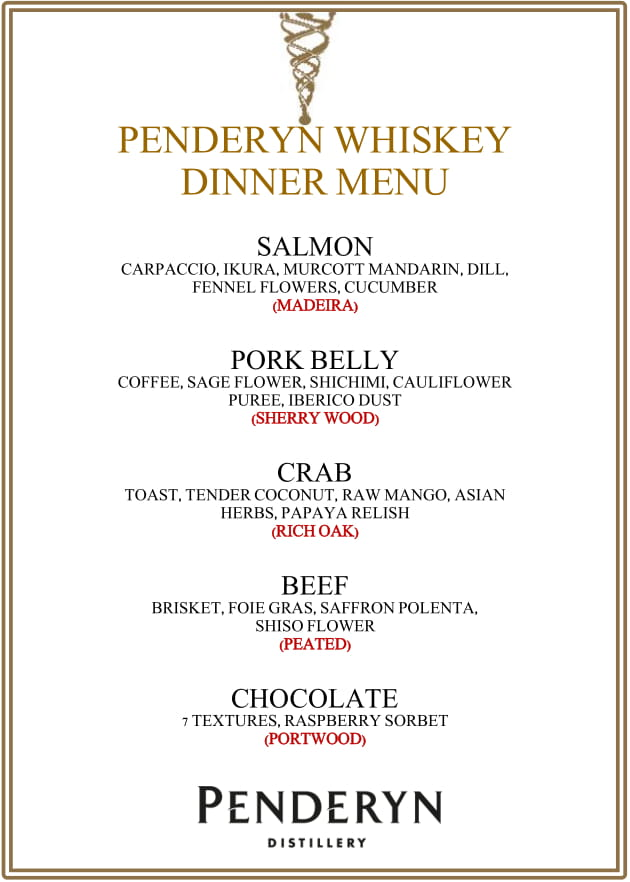 Penderyn Whisky Dinner Menu 1