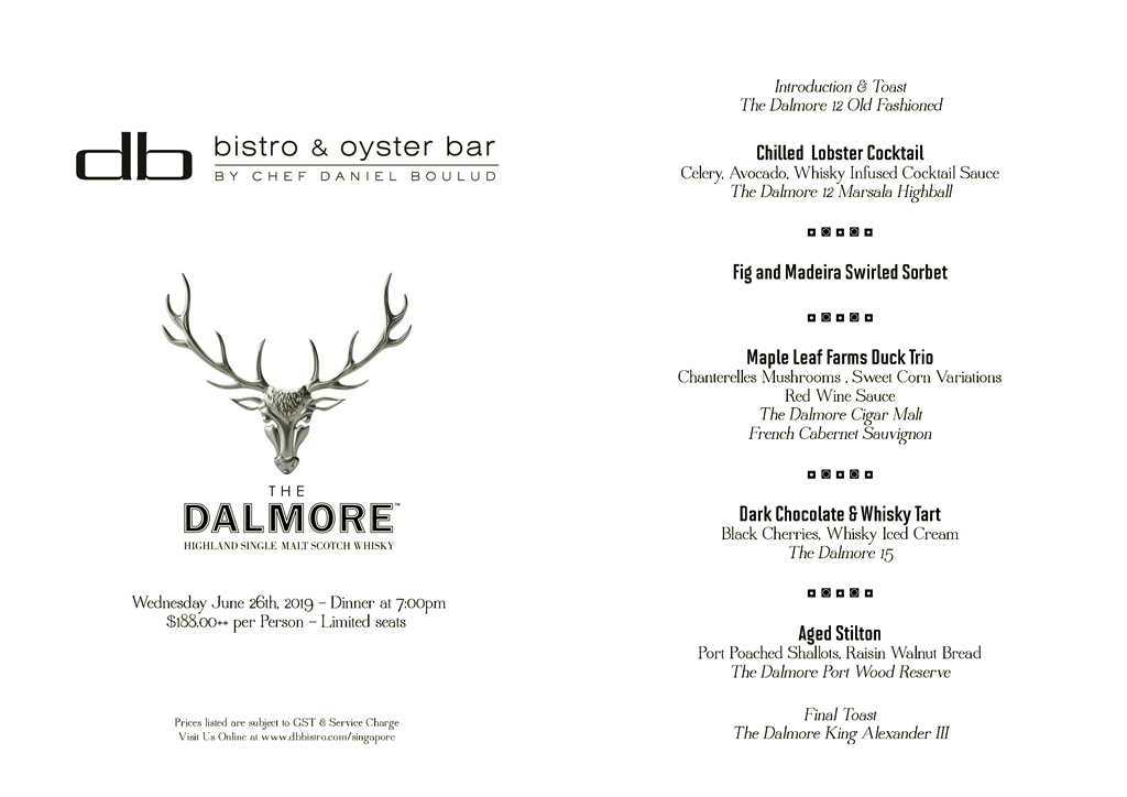 Dalmore Whiskey Public Dinner Menu