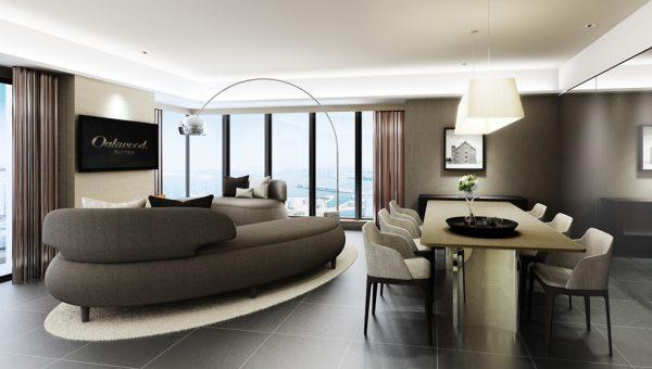 Oakwood Suites Yokohama Three-Bedroom Apartment Living Room Rendering