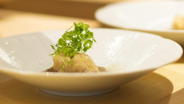 Lotus dumpling (wrapped with japanese baracuda) in burdock sauce topped with celery sprout and black pepper