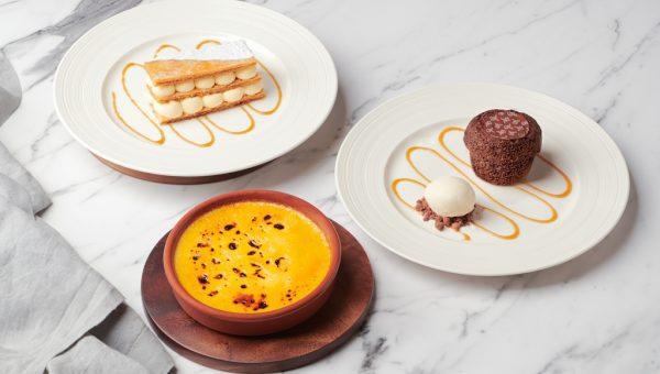 Desserts Selections - Crème Brûlée, Traditionnel Mille-feuille Vanille, Moelleux au Chocolat