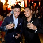 Model and host Jason Godfrey and Harry Corro at Johnnie Walker Circuit Lounge