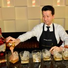 Manabu Ohtake preparing specially made Johnnie Walker Gold Label Reserve cocktails for guests