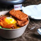 OmniMeat Luncheon with Egg and Rice in Spicy Tomato Sauce