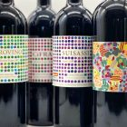 The colourful wine labels from the Duemani estate located in Tuscany, Italy